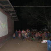 Slideshow on School House Wall in Laos